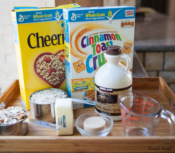 These are the ingredients you will need for the Cereal-Nut Snack Mix.  You could use any brand of the toasted oat circle cereal, as long it is good quality one.