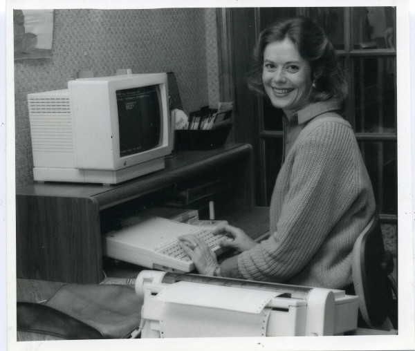 Notice the computer...it was my first!  It was one of the first personal apple computers.  Check out the keyboard, the monitor and the speedy printer!!