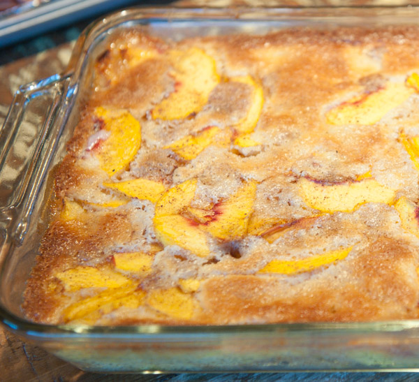 This is what the yummy Salt Lick Peach Cobbler should look like when it is ready to eat.  Just add Blue Bell Vanilla Ice Cream, and you have a true Texas summertime treat!