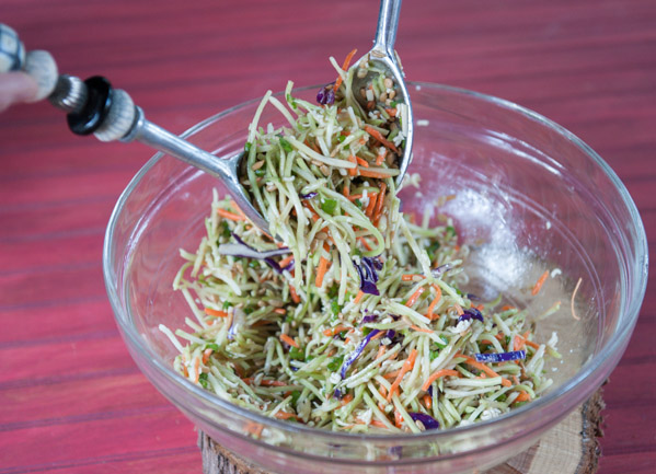 Broccoli slaw, green onions, Ramin Noodles with the seasoning, sunflower seeds, apple cider vinegar and sugar quickly come together for an easy, slightly sweet, but tangy slaw.  Something a little different that my family requests on a regular basis.