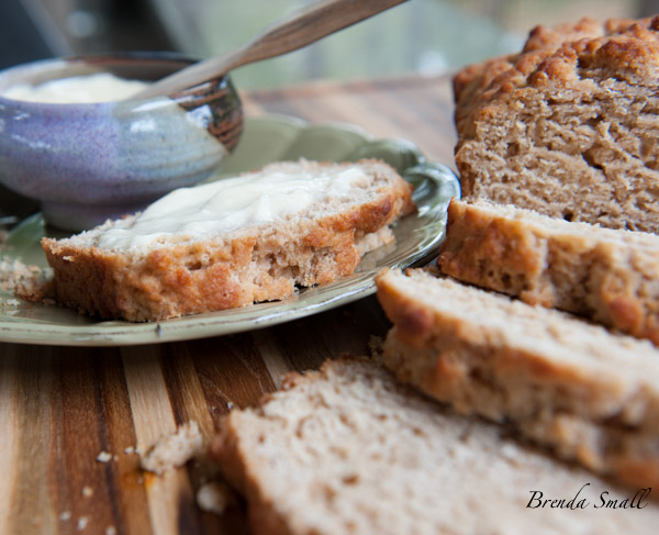 This awesome Whole Wheat Buttery Beer Bread is best when slathered with honey butter.
