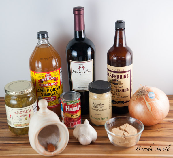 These are the ingredients you will need for this awesome clay pot roast.  I love Wickles Sweet Pickle Relish. I used the Menage a Trois red wine because it was opened.  You can use any hearty red wine.
