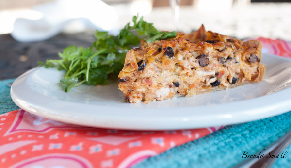"This Texas Style Quiche uses 2 types of cheese, salsa, black beans, chicken, tortilla chips and cilantro.  The texture is heartier and more dense than ""Girlie"" style quiches."